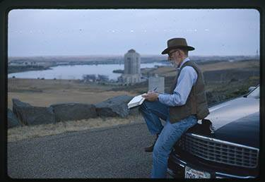 Ivan and Cadillac at Fort Peck Dam, 1994.