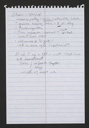 A handwritten note by Ivan detailing a conversation with his doctor.