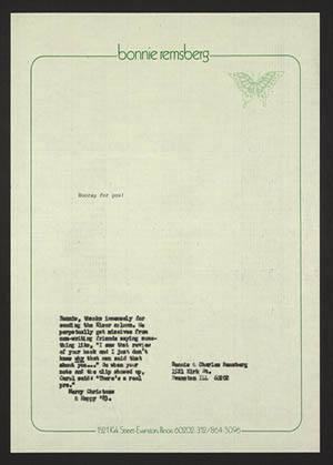 The cover page of letter in the Ivan Doig Correspondence collection that says bonnie remsberg on the top.