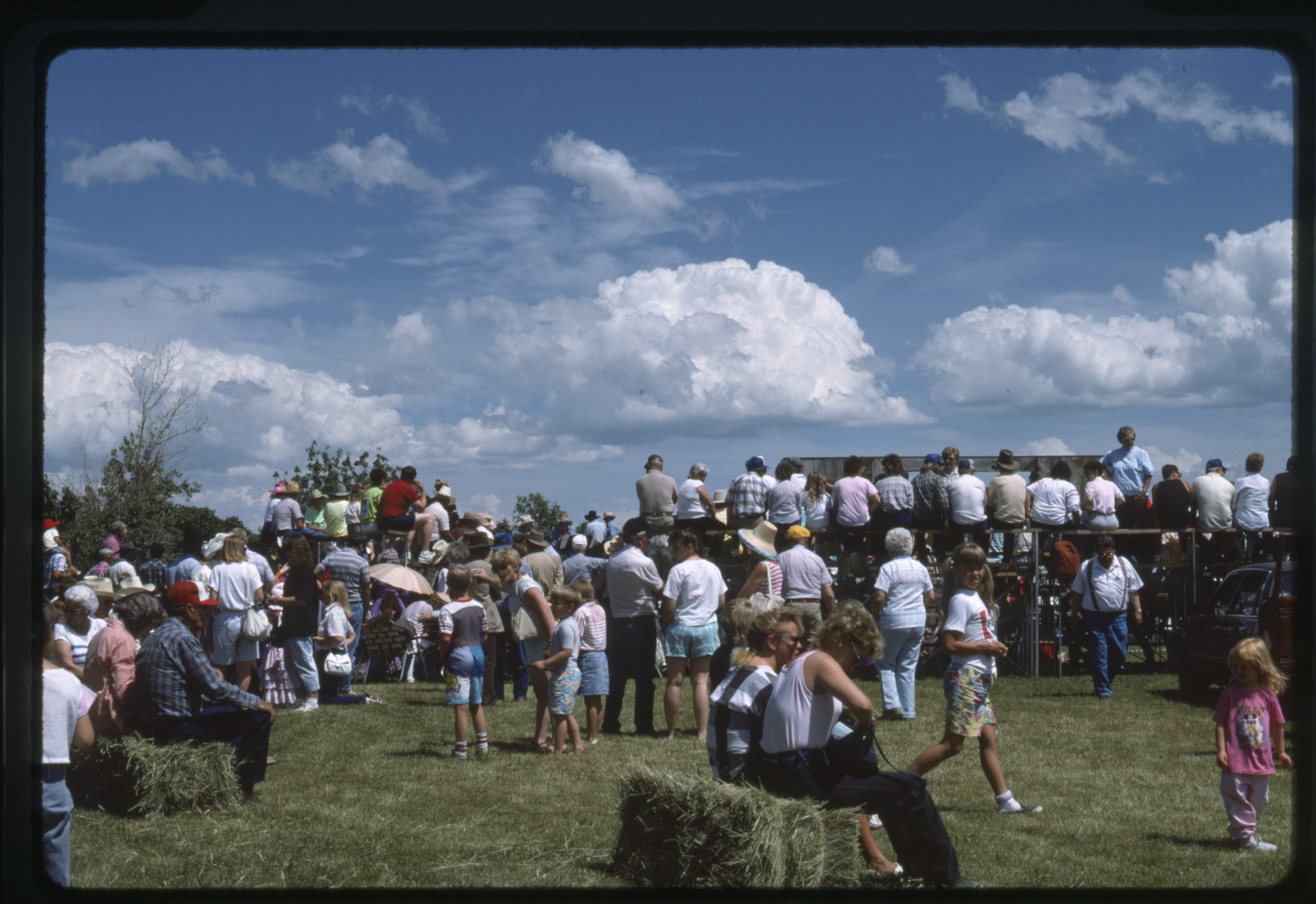Utica, Montana - view behind the community theater crowd during centennial celebration