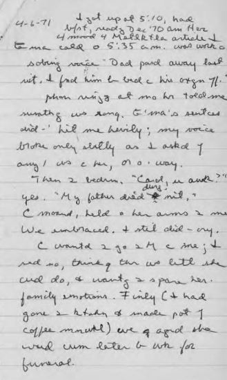 Screenshot of April 6, 1971 Ivan Doig diary entry detailing his thoughts as he received news that his