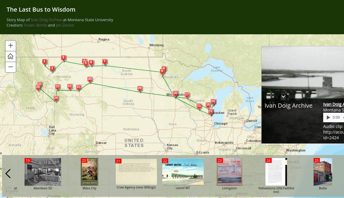 Screenshot of Ivan Doig The Last Bus to Wisdom Story Map