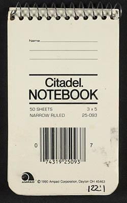 Cover of Citadel notebook that Ivan used to record tasks.